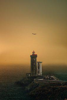 Lighthouse, Sea, Sunset, Dusk, Evening, Tower, Ocean