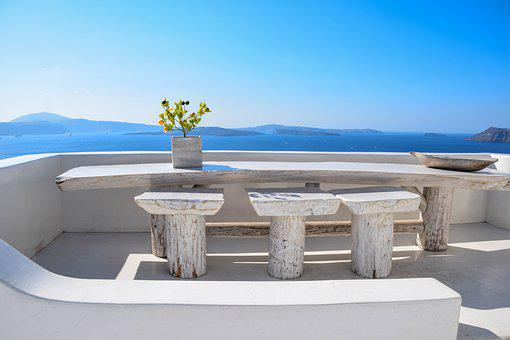 Terrace, Building, Santorini, Greece, Architecture