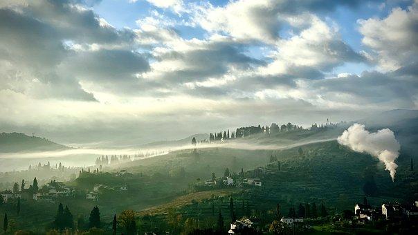 Hills, Fog, Dawn, Morning, Tuscany, Italy, Tuscan Hills