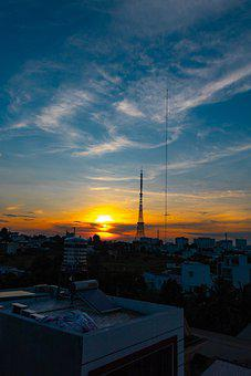 Sunset, City, Buildings, Tower, Urban, Dusk, Evening