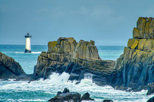 Lighthouse, Rock Formations, Waves, Crashing, Sea