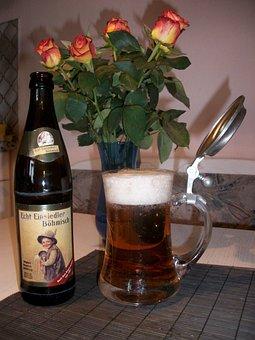 Beer, Bottle, Beaker, Flower, Roses, Beer Glass