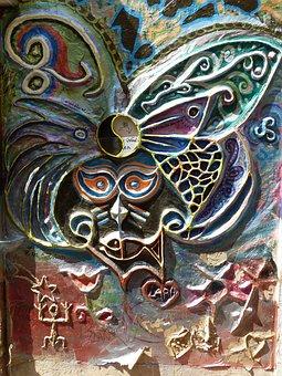 Image, Butterfly, Art, Creativity, Relief, Door