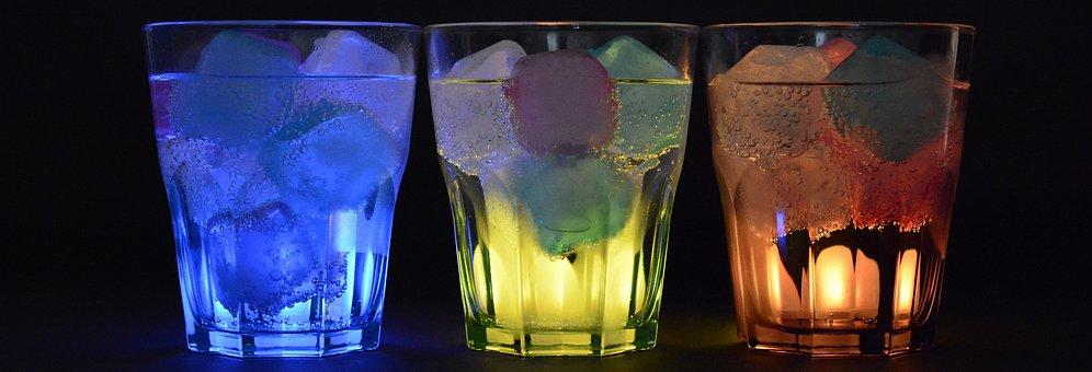 Glasses, Ice Cubes, Illuminated, Drink, Refreshment