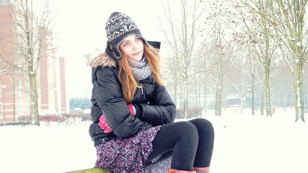 Girl, Cold, Snow, Winter, Skirt, Hat, Snowy, Misty