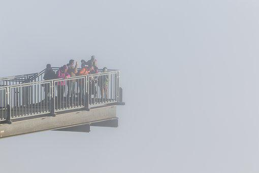 Skywalk, High Wall, People, View, Human, Clouds, Sky