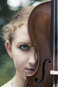 Girl, Image, Violin, Music, Treble Clef