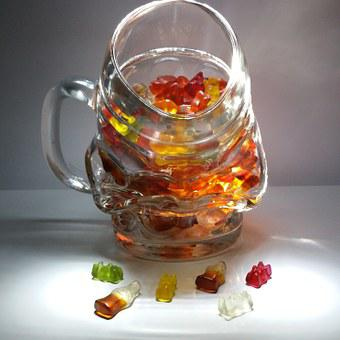 Mug, Gummibärchen, Cola Bottles, Beer Mug, Glass Mug