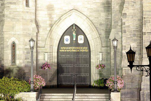 Door, Church, Cathedral, Entry, Arch, Night, Christian