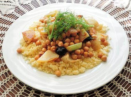 Couscous, Fennel, Chick Peas, Olives, Food