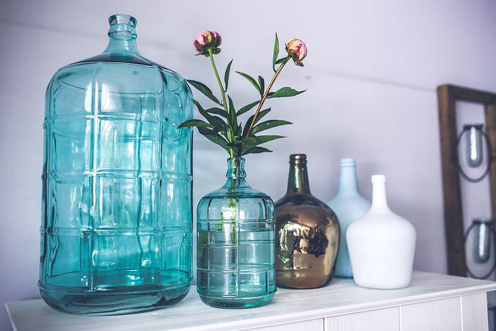 Bottle, Carafe, Carafes, Glass, Vase, Flower, Peonies