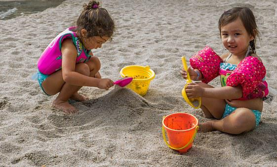 Children, Beach, Playing, Sand, People, Person, Child