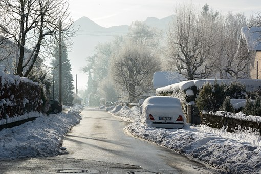 Winter, Snow, Road, Wintry, White, Snowy, Village