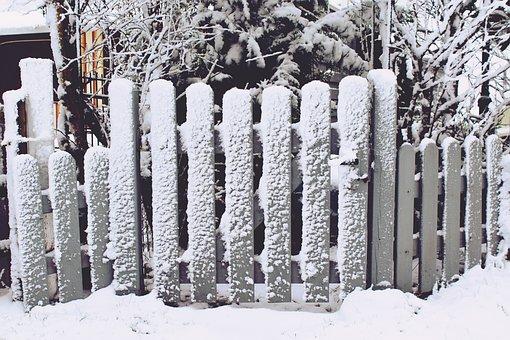 Fence, Garden Fence, Snow, Grey, Input, Wood Fence