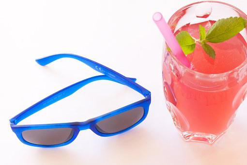 Summer, Refreshment, Sunglasses, Drink, Ice Cubes