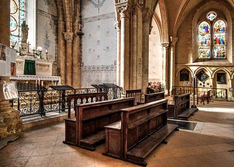 Church, Altar, Pews, Arches, Interiors