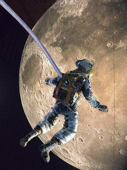 Astronaut, Moon, Space, Man, Outerspace, Sci-fi
