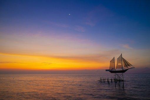 Boat, Beach, Sea, Ship, Ocean, Twilight, Sky, Quiet