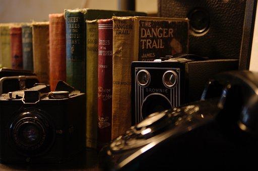 Books, Cameras, Telephone, Classic, Old, Nostalgia