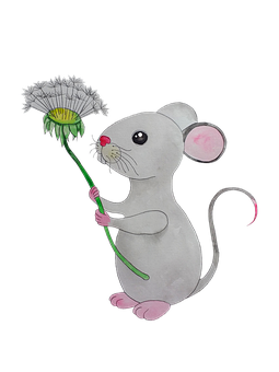 Mouse, Dandelion, Rodent, Cute, Funny, Animal, Cheerful