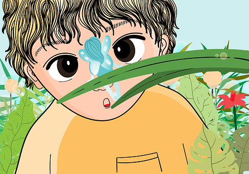 Child, Fairy, Garden, Curious, Childhood, Innocence