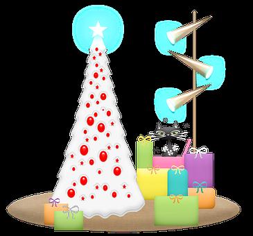 Cat, Tree, Christmas, Gifts, Presents, Retro
