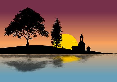 Lake, Couple, Silhouette, Sunset, Church, Trees