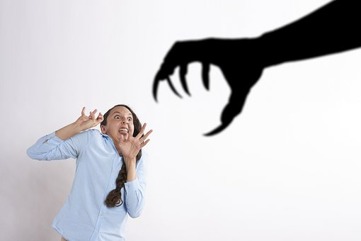 Woman, Monster, Claw, Scared, Shadow, Reaction, Horror