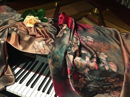 Piano, Rose, Silk, Fabric, Cloth, Cover, Piano Cover