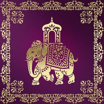Background, Oriental, Elephant, Pattern, Frame