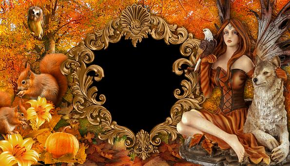Frame, Autumn, Woman, Wolf, Female Avatar, Avatar