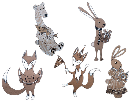 Rabbits, Foxes, Bear, Animals, Tales, Cute, Funny
