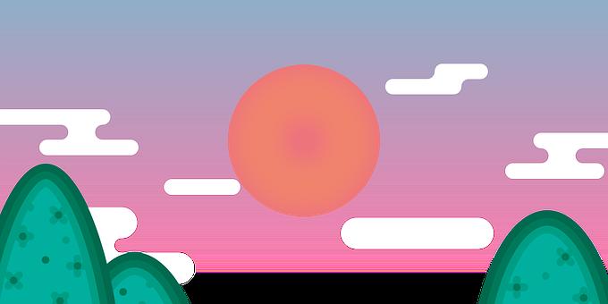 Sun, Clouds, Drawing, Sunset, Solar, Glow, Sky
