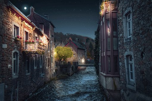 Night, Houses, River, Canal, Estuary, Buildings