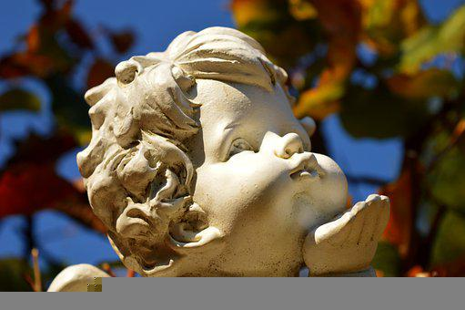 Angel, Cherub, Kiss, Statue, Sculpture, Angel Statue