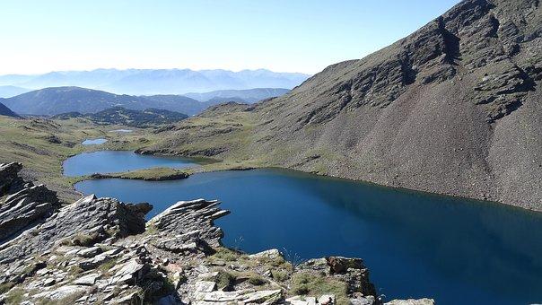 Mountains, Pond, Lake, Water, Rocks, Rock Formations
