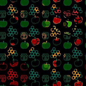 Apples, Honey, Honeycombs, Pattern, Design, Seamless