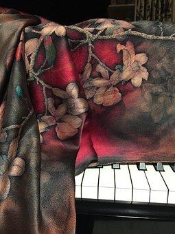 Piano, Silk, Fabric, Cloth, Cover, Piano Cover, Ivory