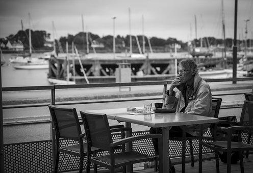 Man, Cigarette, Table, Sitting, Port, Old, Elderly