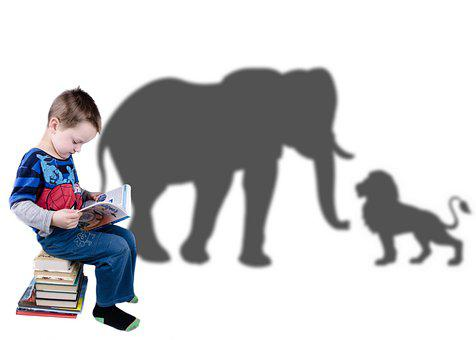 Kid, Books, Reading, Childhood, Imagination, Elephant