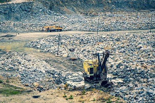 Rocks, Road, Excavators, Quarry, Mountain, Stones