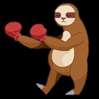 Sloth, Boxing Gloves, Cartoon, Animal, Boxer, Sleeping