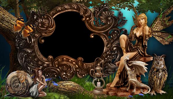 Frame, Women, Fairy, Nymph, Snail, Dragon, Owl