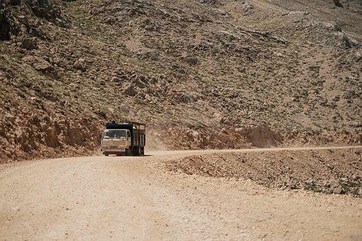 Trailer, Truck, Vehicle, Cargo Truck, Pist, Desert
