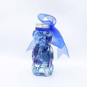 Bottle, Jar, Ribbon, Blue Ribbon, Bear Bottle, Bear Jar