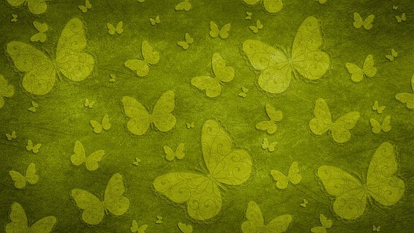 Butterflies, Insects, Green, Pattern, Design