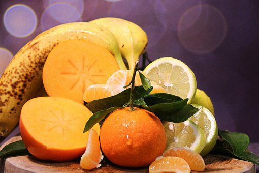 Fruit, Tangerine, Oranges, Banana, Limes, Mango, Food