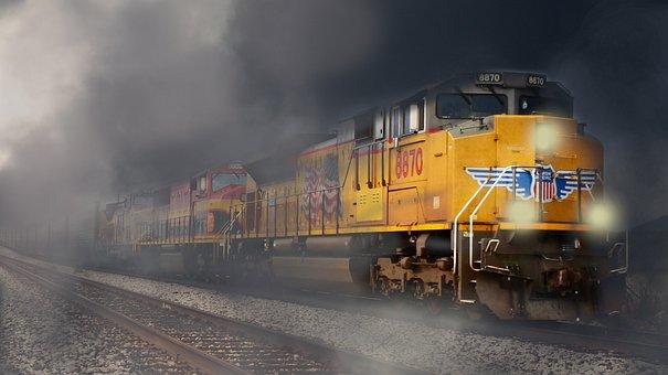 Train, Fog, Transport, Freight, Locomotive, Rails