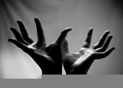 Hands, Reaching, Tactile, Black And White, Touch
