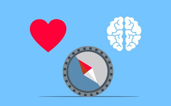 Heart, Brain, Compass, Emotion, Logic, Decision, Life
